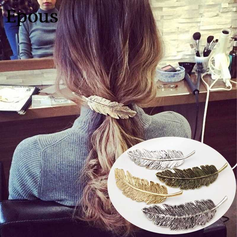 Fashion Vintage Gold Silver Leaf Shape Metal Hair Clips Women Elegant Hairpins Barrettes Girls Headbands Lady Hair Accessories