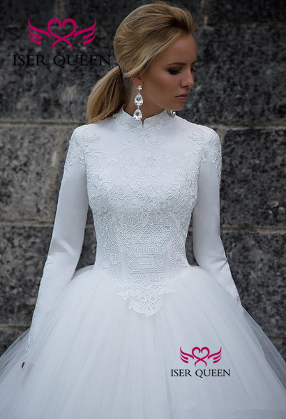 High-neck Long Sleeves Muslim Wedding Dress 2019 Back Design Zipper Vintage Pure White A-line Princess Bride Dress W0532