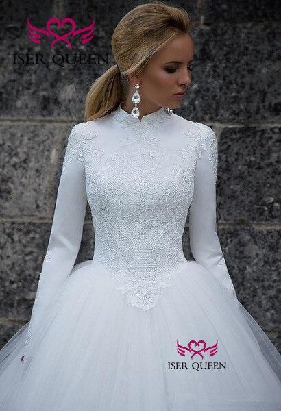 High-neck Long Sleeves Muslim Wedding Dress 2020 Back Design Zipper Vintage Pure White A-line Princess Bride Dress W0532