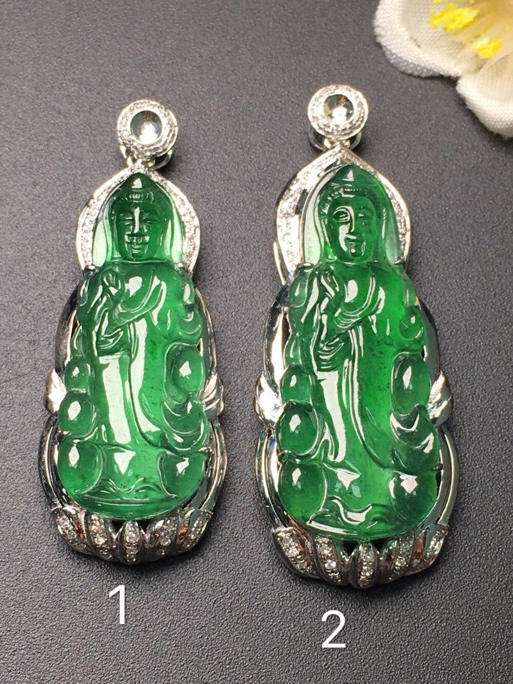 Real 18K White Gold Natural Green Jade Avalokitesvara Bodhisattva Bouddha Jade Female Pendant Necklace for Women Fine Pendants