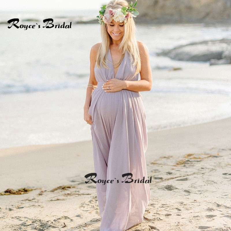 Simple chiffon beach maternity evening dress halter formal for Simple wedding dress for pregnant
