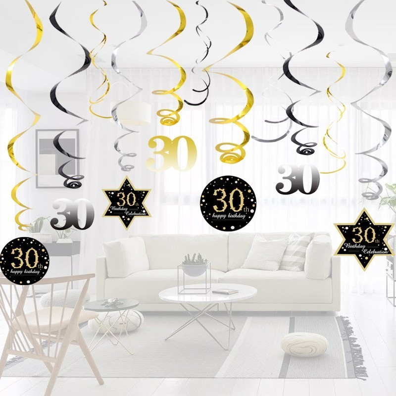 Hot!<font><b>18</b></font>/30/40/50/60 Year Olds DIY Spiral Ornaments <font><b>Birthday</b></font> Confetti Balloon <font><b>Birthday</b></font> Balons Anniversary Party <font><b>Decorations</b></font> image