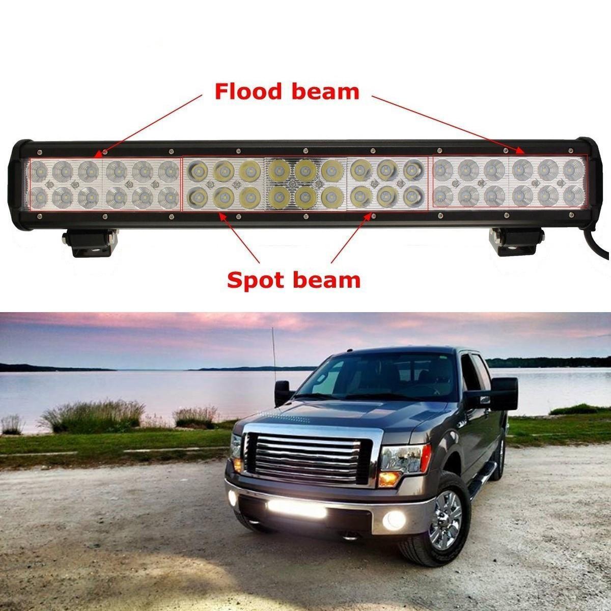ФОТО 20Inch 126W LED Work Light Bar For Tractor Boat OffRoad 4WD 4x4 Truck SUV ATV Spot Flood Combo Beam 12V 24V