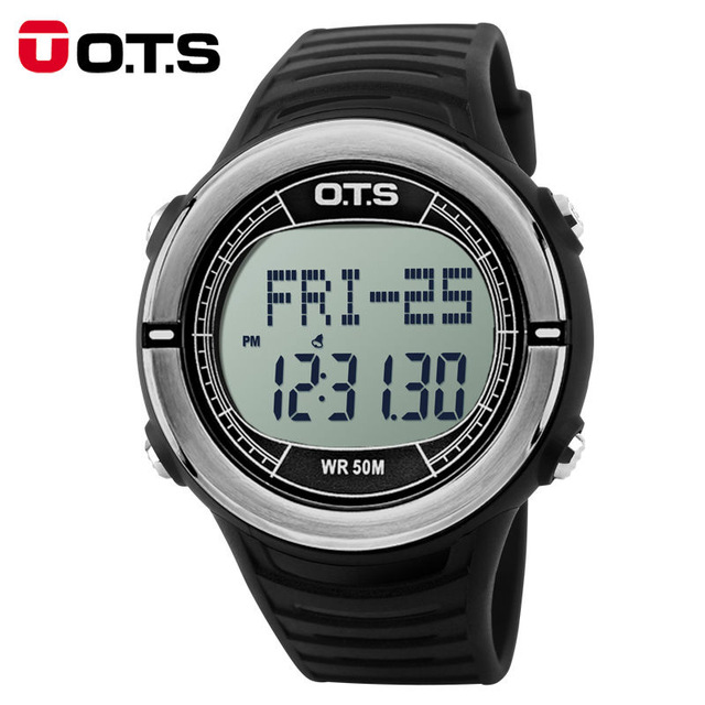 OTS Heart Rate Monitor Watch Sphygmograph Pulse Digital Clock Pedometer Countdown Waterproof Men Sports Watches for Running