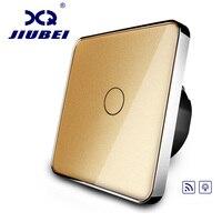 Jiubei EU Standard Switch Golden Glass Panel AC 220 250V Remote Dimmer Function Wall Light Switch