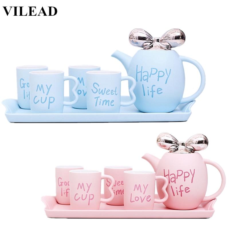 VILEAD Fashion British Ceramic Coffee Cup Set European Cute Porcelain Tea Set Home Coffee Mug Teapot Cup Set Water Cup Drinkware
