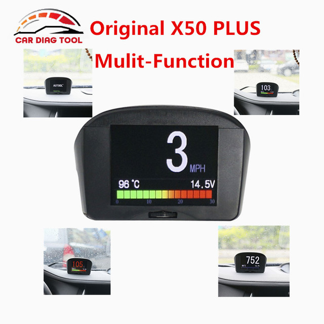 100% Original AUTOOL X50 PLUS OBD2 HUD X50 Smart Digital & Early Alarm 2.4'' X50 PLUS Fault Code Multi-Function Free Shipping