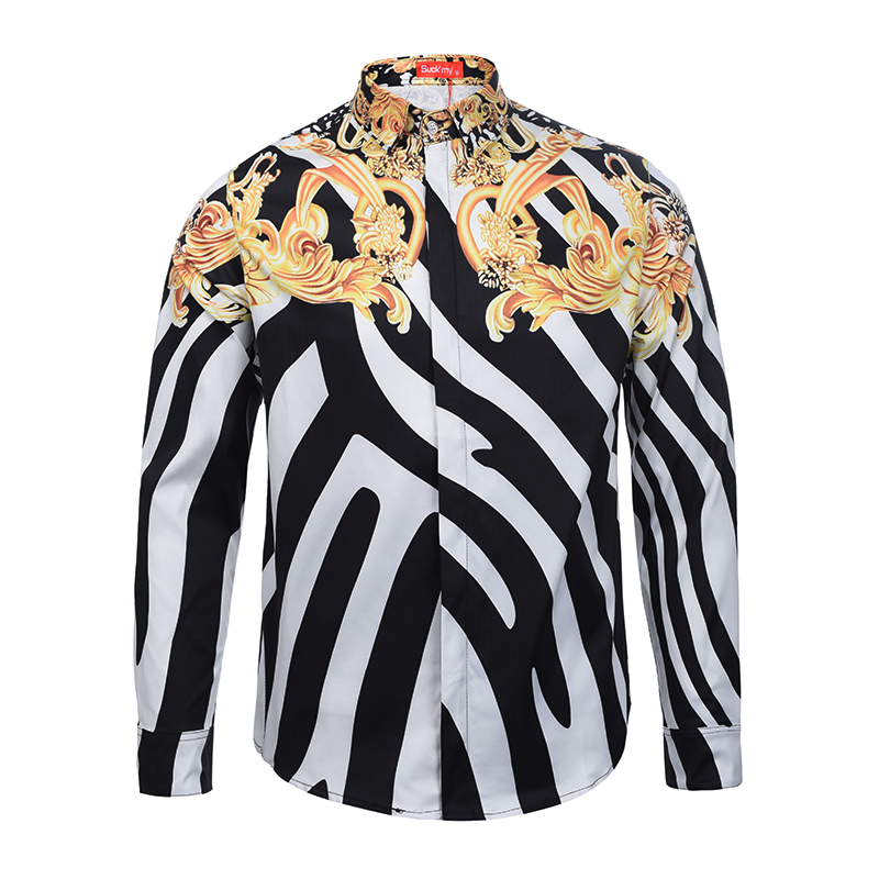 Printed Men Dress Shirt Splashed Paint Pattern Printed 3D Shirt Slim Fit Male Long Sleeve Shirts chemise homme Plus Size9028