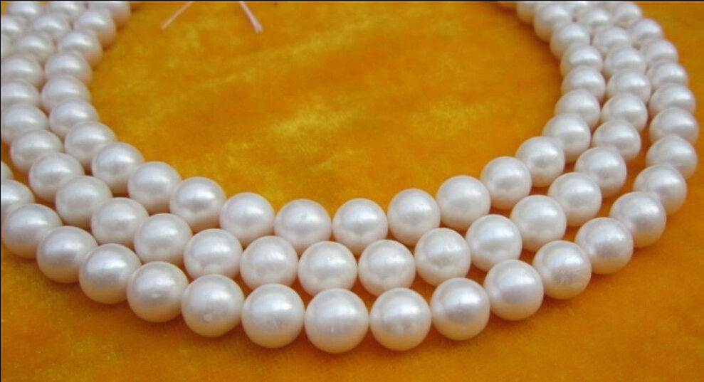 3 ROW 9-10MM AA++ NATURAL SOUTH SEA WHITE PEARL NECKLACE 17- 19>Selling jewerly free shipping3 ROW 9-10MM AA++ NATURAL SOUTH SEA WHITE PEARL NECKLACE 17- 19>Selling jewerly free shipping