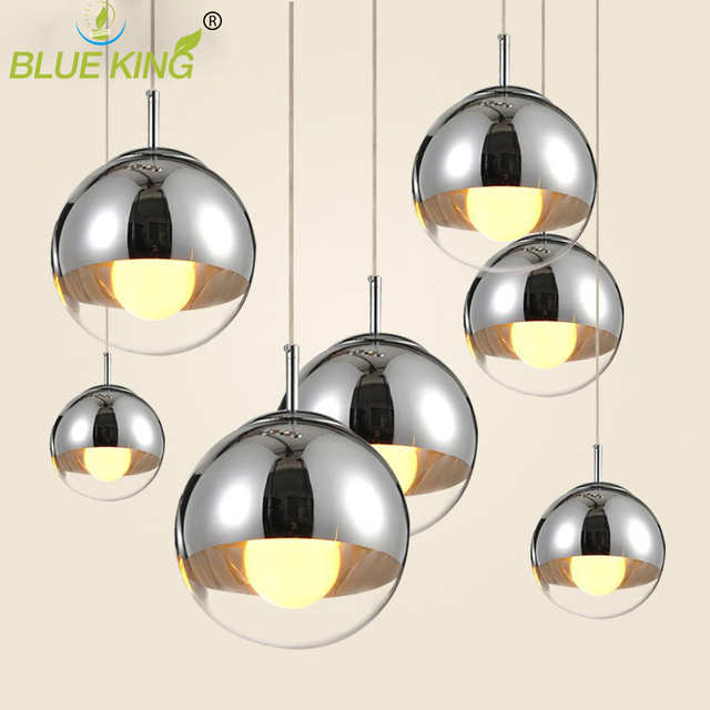 Modern Pendant Lights 2 3 Plated Mirror Glass Lampshade Lamps Round Silver Globe Re