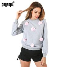 Gagaopt 2017 Autumn Flower Sweatshirt Women Cotton Gray Moleton Causal Top