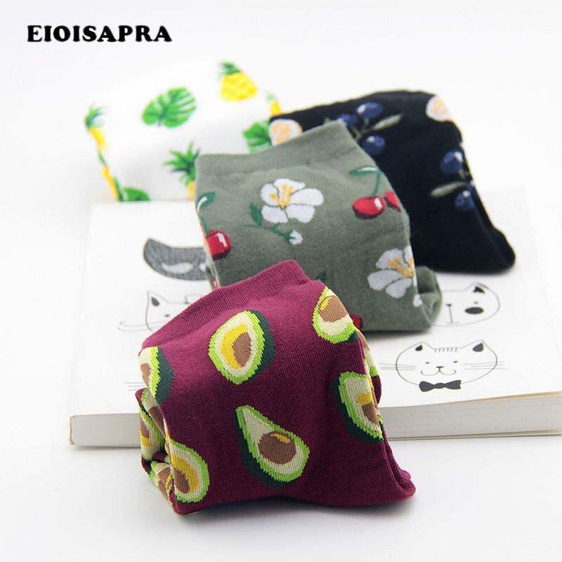 [EIOISAPRA]Print Fresh Fruits Socks Banana Lemon Avocado Cherry Blueberry Orange Gardenias Flamingos Plumerias Scoks Women