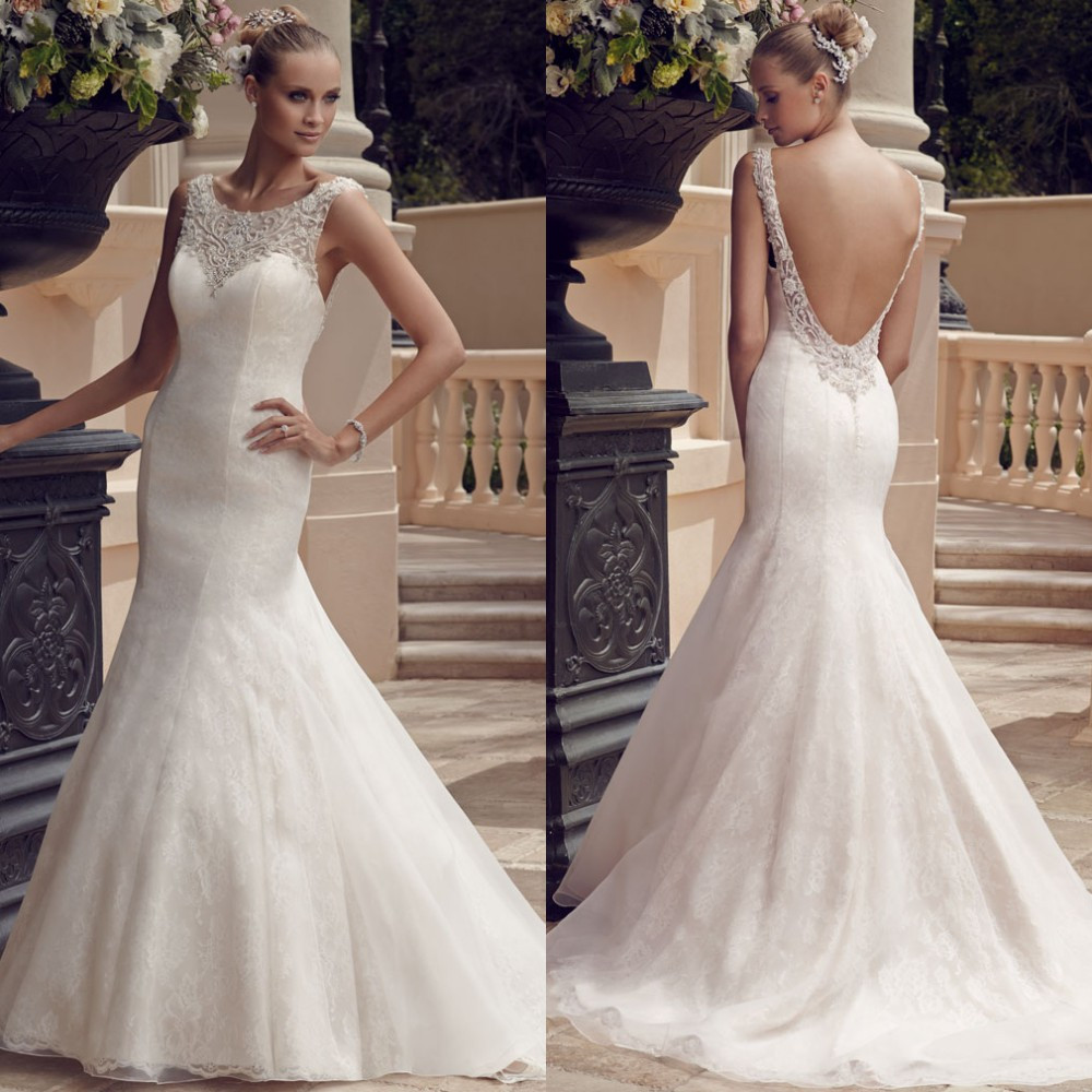 wedding dresses 3 fishtail wedding dress Elegant fishtail wedding gown with detailed straps and lace up back