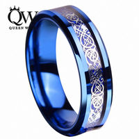 Queenwish 6mm Sliver Irish Claddagh Celtic Dragon Blue Tungsten Wedding Bands Eternity Anniversary Rings For Couples