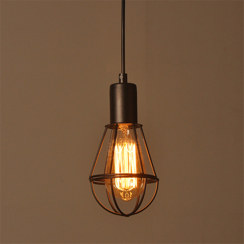 High quality Vintage Industrial Edison Hanging Light Iron Meta Pendant Wire Cage Lamp E27 Base edison loft style vintage light industrial retro pendant lamp light e27 iron restaurant bar counter hanging chandeliers lamp