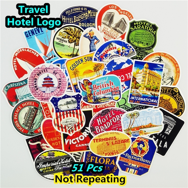 Mix 51 PCS Retro Style Travel Hotel Logo Hawaii Stickers for Travel Suitcase Wall Pencil Box Bike Sliding Car Sticker DIY Decals