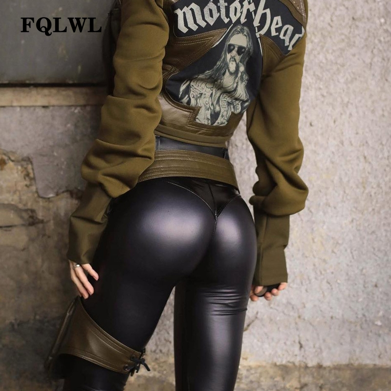 FQLWL Punk Bodycon Faux Pu Leather Pants Women Push Up Black High Waist Pants Female Autumn Winter Trousers Women Sexy Pants 7