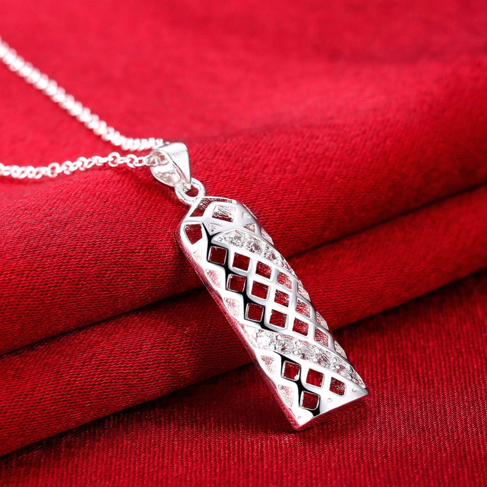 Free Shipping Classic 925 sterling silver necklace modern geometric grid hollow pendant fashion ladies necklace
