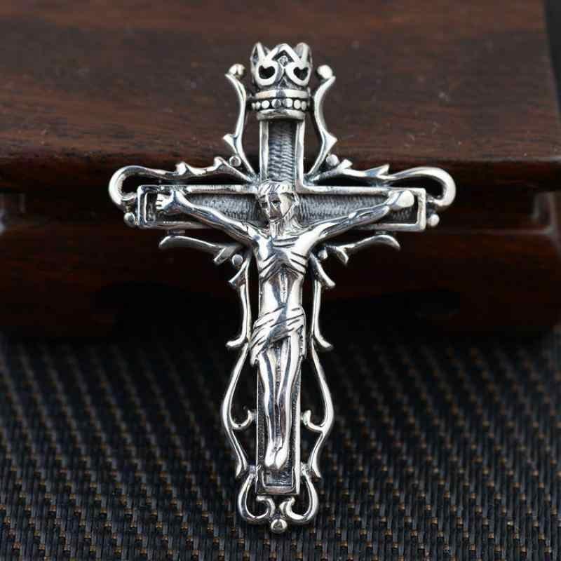 จริงเงินสเตอร์ลิงพระเยซูชิ้นจี้ Retro Vintage ทางศาสนา Cross สำหรับผู้ชายและผู้หญิง Cruxifix Pendentif เงิน 925