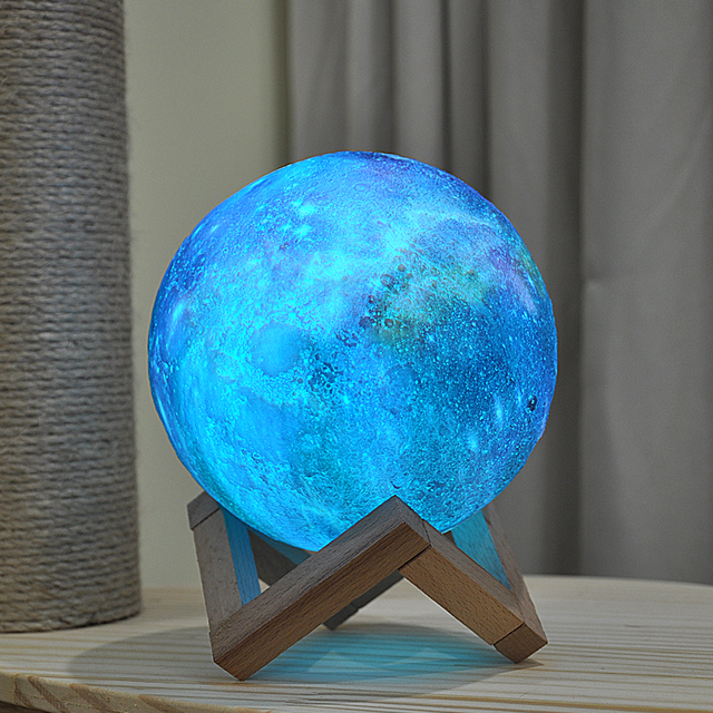 Dropship New Arrival 3D Print Star Moon Lamp Colorful Change Touch Home Decor Creative Gift Usb Led Night Light Galaxy Lamp 3