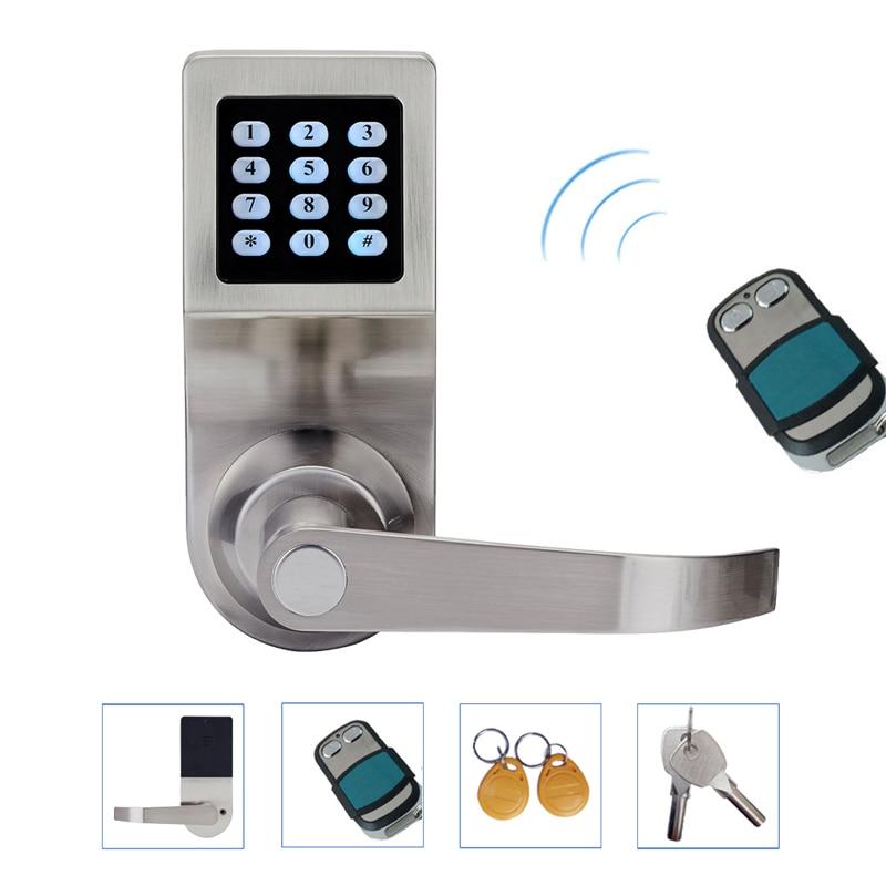 Hide Key Digital Keypad Door Lock Remote Control+Password+Card+Key Spring Bolt Smart Electronic Lock L&S L16086BSRM fingerprint electronic door lock smart digital touch screen keypad password card key zinc alloy l