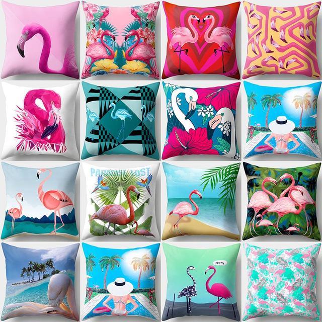45 cm x 45 cm Colorful Flamingo Fodere per Cuscini Spiaggia Cielo Coperture per