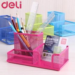 Deli 1 Pc Square Pen Stand Holder Metal Mesh Dest Stationery Holder Big Capacity 4 Colors For Office Organizer For Pens 20D9154 deli 9145 stylish pc pencil pen holder deep pink wood