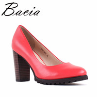 Bacia Square Heel Pumps Genuine Leather Shoes For Women Luxury Quality Heels Round Toe Slip On