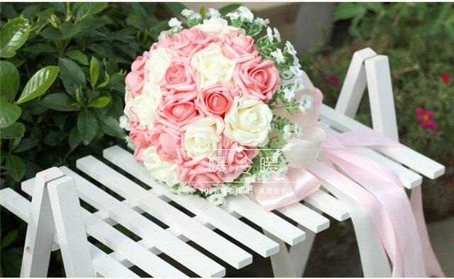 2017 Barato de La Boda/Ramos de la Dama de Nueva Rosa y Blanco Nupcial Hecho A Mano ramo de la Rosa Artificial Ramo de mariage boda
