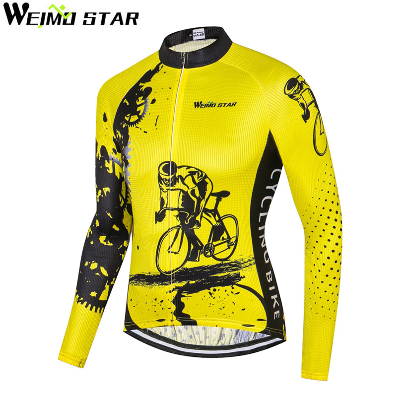 WEIMOSTAR Team Pro Breathable Mens Wear MTB Cycling Jersey Long Sleeve Shirt Riding Tops Bike Cycling Clothing Bicycle Yellow
