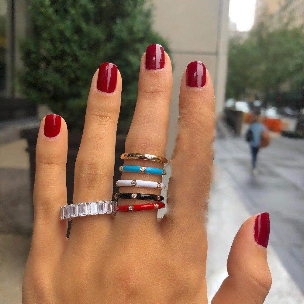 Bague en émail pour femmes, bijoux cadeau, bleu, noir, blanc ou rouge, plaqué or, pour OL, fête de mariage, tendance décontracté