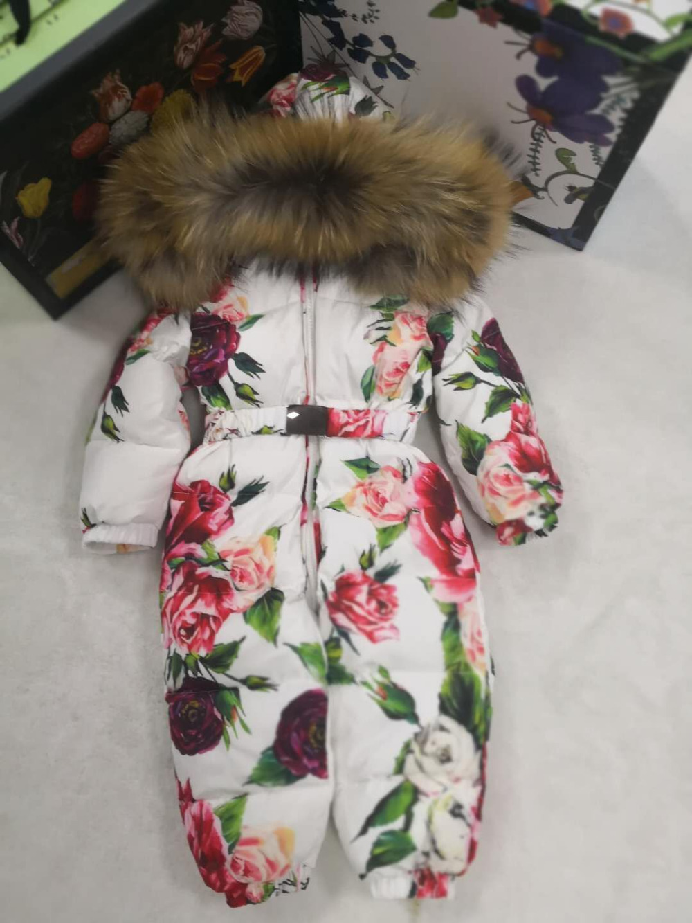 Veste d'hiver 2019 à capuche en fourrure véritable pour bébé veste d'hiver enfant vestes enfants combinaison combinaison de neige fille floral bas garçon combinaisons bébé