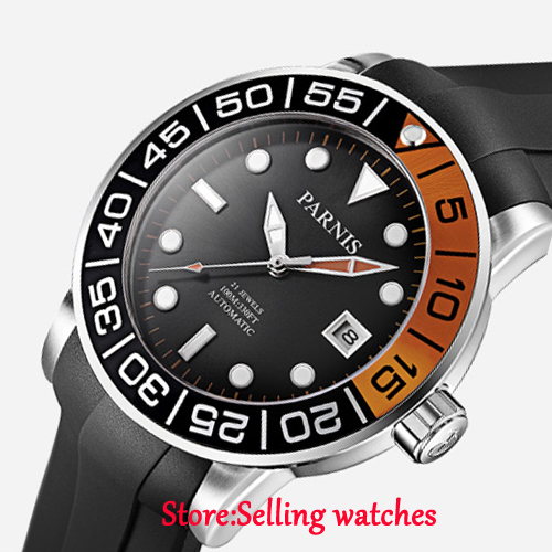 42mm Parnis black dial Sapphire glass date window Miyota automatic mens watch42mm Parnis black dial Sapphire glass date window Miyota automatic mens watch