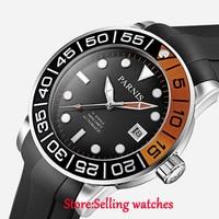 42mm Parnis mostrador preto data janela Miyota automáticos mens watch vidro de Safira watch automatic men watch menwatch men automatic -