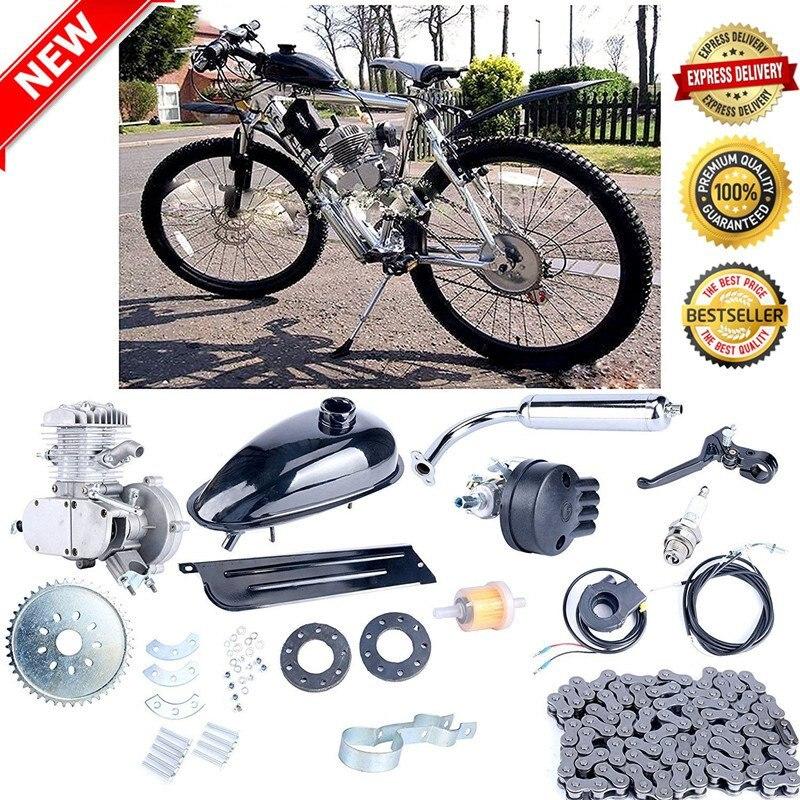 2 такта 80cc цикл двигатель комплект газа отлично подходит для моторизованных велосипедов цикл велосипеды серебро
