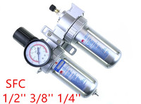 SFC 200 300 400 Two Units Air Filter Regulator Lubricator Air Compressor Filter Regulator SFC 200 Air Preparation Units