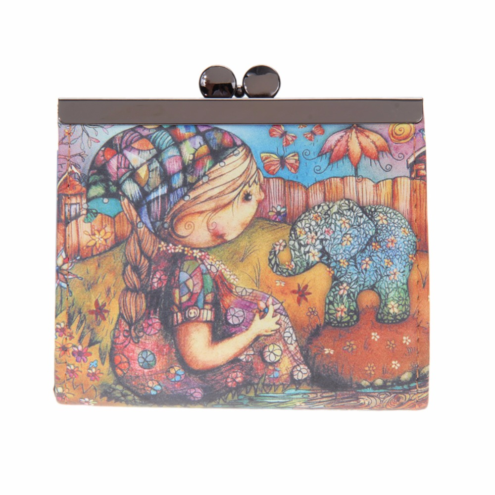 Various Graffiti PU Leather Hasp Clutch Wallet Printing Cartoon Owl Coin Pocket Money Bag Women Short Wallet Cute Mini Purses naivety drop shipping women cute coin purse pu leather cartoon rabbit printing short wallet animal monedero de la moneda 28s7626