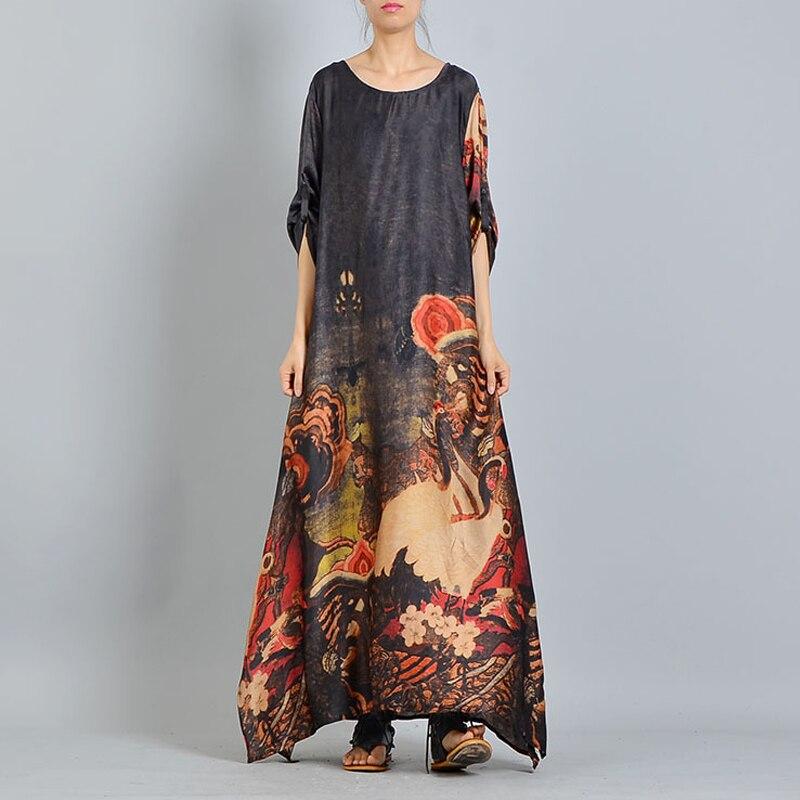Casual cou Vintage Floral Black Femmes Nouvelle Yd Demi Maxi Robe 2018 Couleur ever Robes Chinois red Imprimer Manches Été O blue 3 Style tzxnq6Zwn