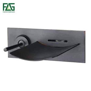 Image 1 - FLG הסתיר אמבטיה ברז טמפרטורת צבע שינוי LED מפל ברז קיר רכוב שמן שפשף שחור אגן ברזי כיור