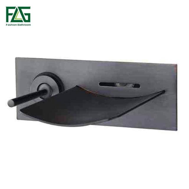 FLG הסתיר אמבטיה ברז טמפרטורת צבע שינוי LED מפל ברז קיר רכוב שמן שפשף שחור אגן ברזי כיור