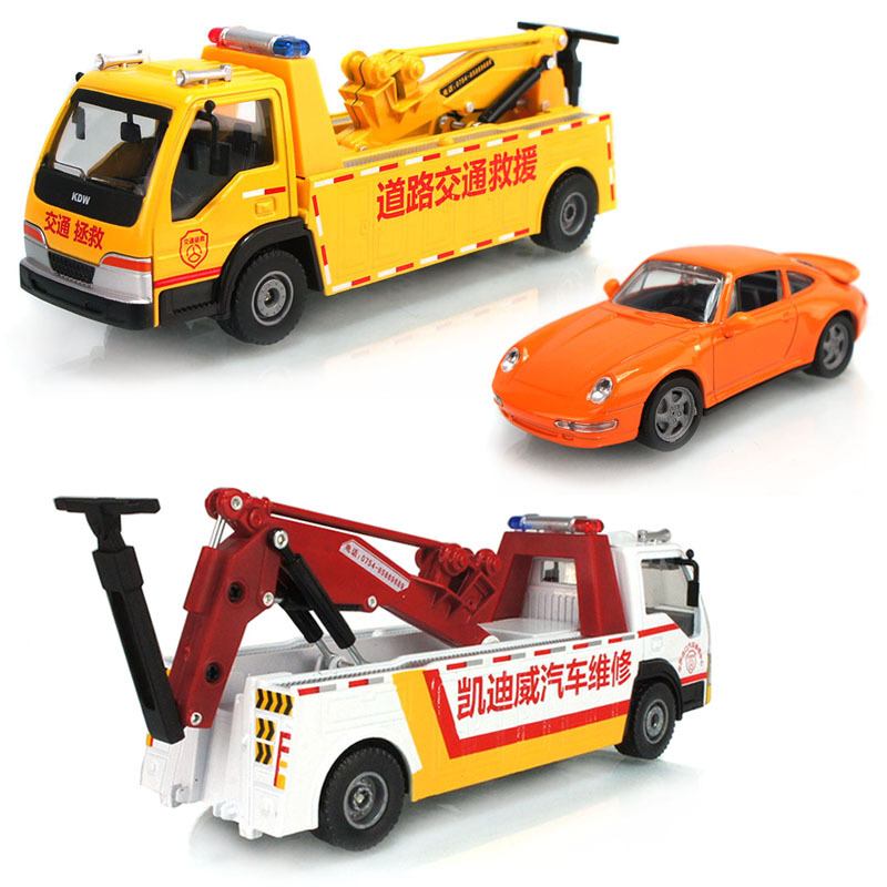Alloy engineering vehicle road wrecker rescue truck acousto-optic toys children christmas gift kid car toys model 1:50