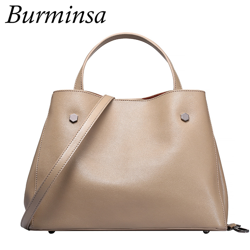 Burminsa Brand Genuine Leather Bags Causal Bucket Shopping Bags Designer Handbag High Quality Shoulder Crossbody Bags For Women