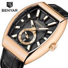 BENYAR Brand Quartz Watch Waterproof Genuine Leather Strap Luxury Clas
