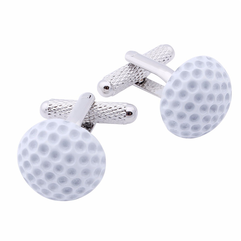 Sporty Style Mens Golf Cufflinks White Enamel Jewelry For Boys Ceremony Gift Free Shipping