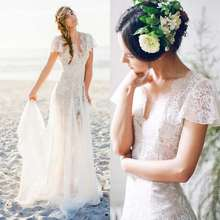 2019 Bohemia Lace Beach Wedding Dress Sexy V neck Short Sleeve Backlees Boho Bridal Gowns Romantic Chiffon Vestido De Noiva