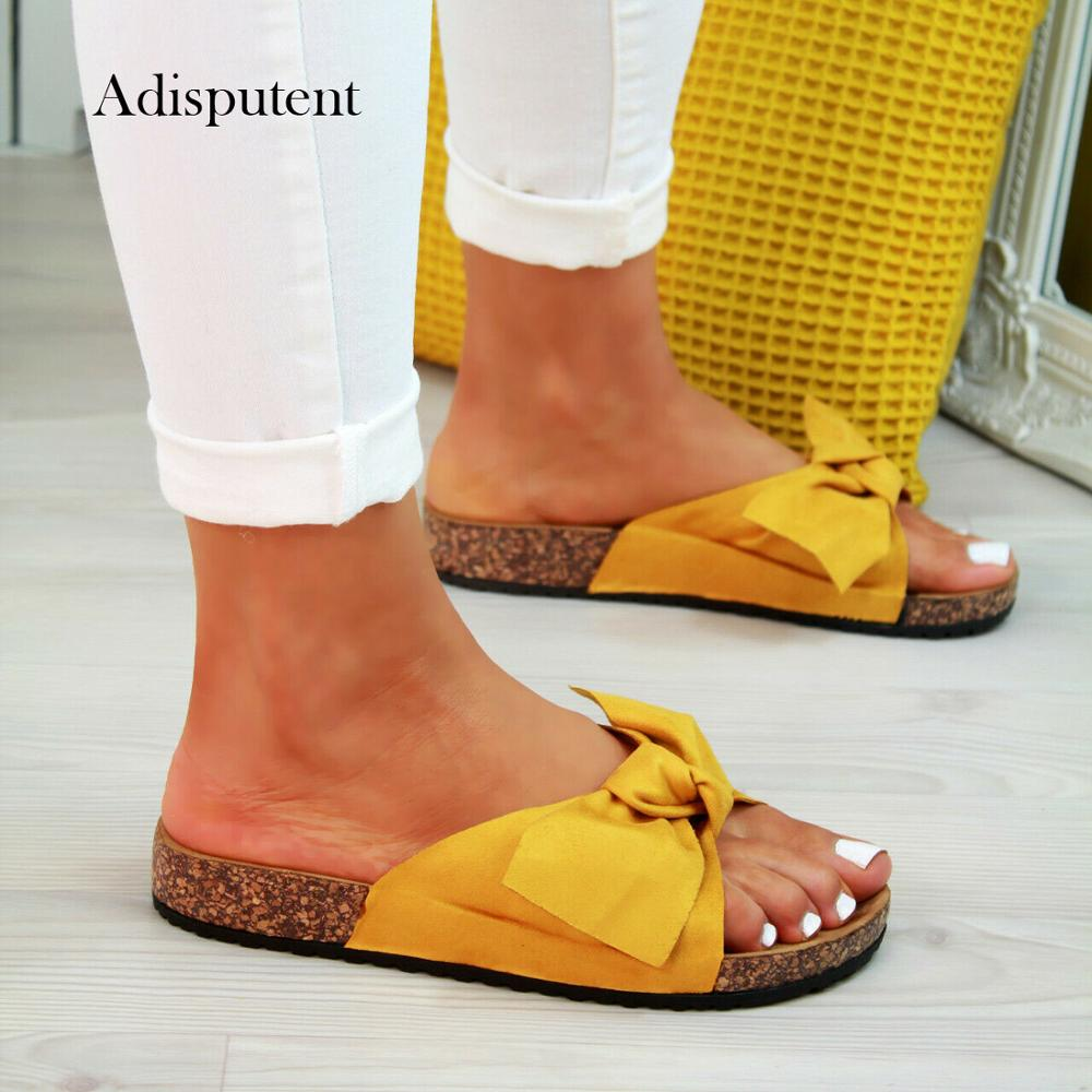2019 Bow Slippers Women Sommer Torridity Sandals Slipper Indoor Outdoor Linen -flops Beach Shoes Female Fashion  Shoes