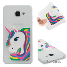 Rubber Unicorn Case sFor Coverage Samsung A510 Soft Silicone Back Cover Balr Metallic Mobile Phone Case Samsung Galaxy A5 2016(China)