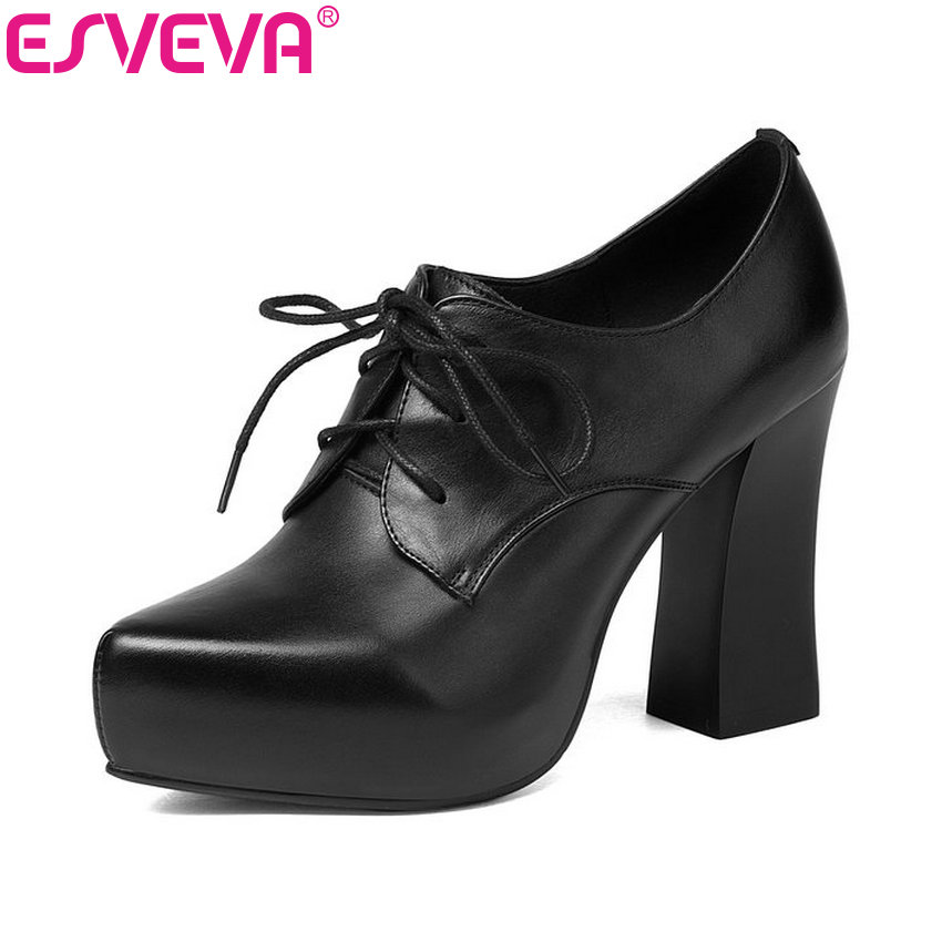 ESVEVA 2018 Women Pumps Platform Square High Heels Ladies Pumps PU Casual Platform Pointed Toe Lace Up Ladies Shoes Size 34-39 annymoli platform high heels lace up wedge shoes ladies pumps pointed toe lace up increasing heels shoes black white size 34 39