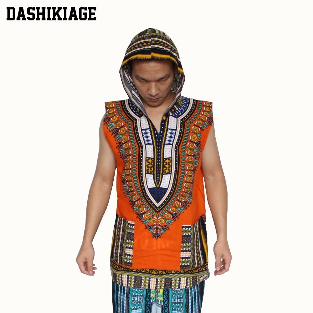 (3 Stks/partij) Groothandel Afrikaanse Hoody Mouwloos 100% Katoen Mannen Hoodie Dashiki Met Kap