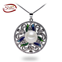 SNH Free Shipping!!!fashion design Natural Pearl Pendant 100% Freshwater Pearl Pendant necklace with 925 Silver gift for women